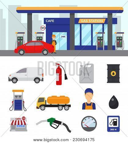 Gas Station Vector Gasoline Fuel Or Petrol And Diesel For Refueling Cars Illustration Set Of Transpo