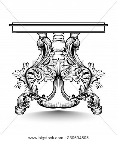 Baroque Console Table With Luxurious Ornaments. Vector French Luxury Rich Intricate Structure. Victo