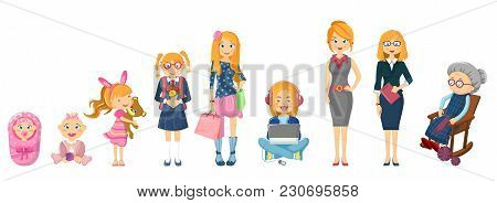 Complete Cycle Of Person S Life From Childhood To Old Age. Newborn Baby, Toddler, School-age Girl, H