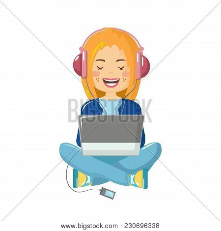 Young, Beautiful Girl, At Home, Listening To Music, Sitting At The Laptop On The Floor, Working On F