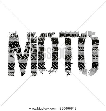 Off-road Grunge Moto Lettering. Stamp Tire Word Made From Unique Letters.  Vector Illustration Usefu