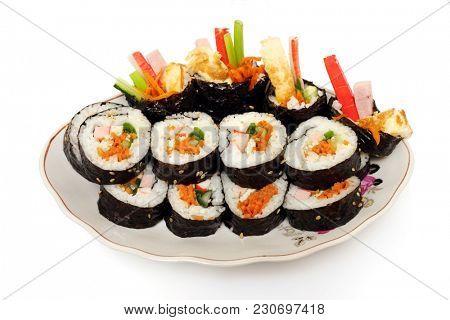 Korean food, gimbap. White background.