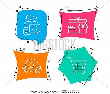 Set Of Business Targeting, Surprise Boxes And Communication Icons. Internet Shopping Sign. People An