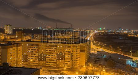 Panorama Of Night City Russia Siberia Tyumen The Roof Of The House