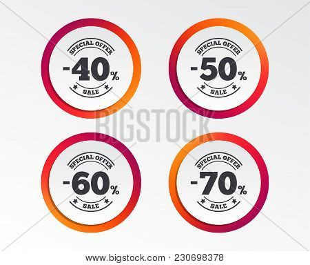Sale Discount Icons. Special Offer Stamp Price Signs. 40, 50, 60 And 70 Percent Off Reduction Symbol