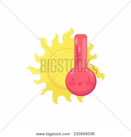 Cartoon Character Of Hot Sweating Thermometer, Yellow Sun Behind Him. Graphic Element For Mobile Met