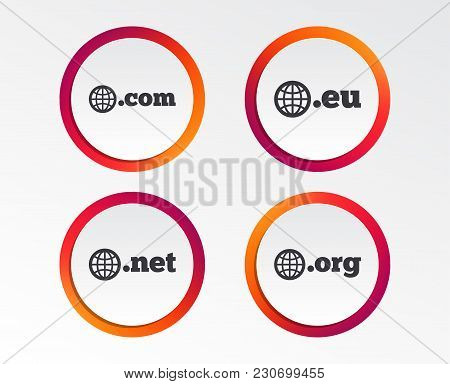 Top-level Internet Domain Icons. Com, Eu, Net And Org Symbols With Globe. Unique Dns Names. Infograp