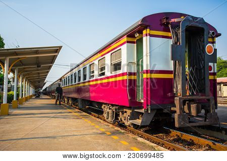 Lopburi,thaoland,12,march,2018,train Parking On Railway At Train Station