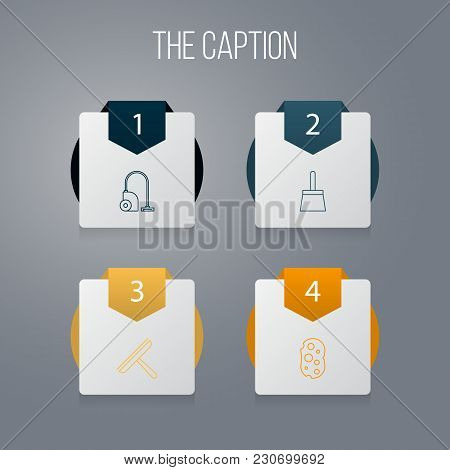 Icon Line Clean Set Of Brush, Vacuum Cleaner, Sweep And Other Vector Objects. Also Includes Brush, S