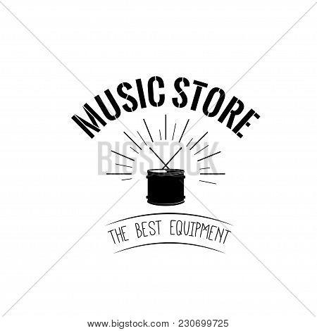 Drum Icon. Music Store Logotype Label Emblem. Vector Illustration. Drum In Beams.