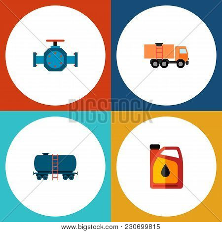 Icon Flat Oil Set Of Tanker, Fuel Canister, Pipe Pump Valve And Other Vector Objects. Also Includes