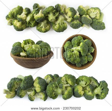 Broccoli With Copy Space For Text. Broccoli Isolated On A White Background. Broccoli On White Backgr