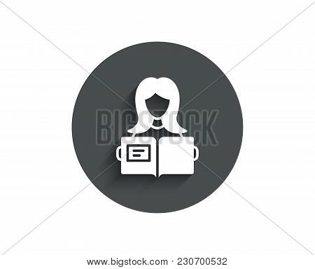 Woman Read A Book Simple Icon. Education Symbol. Instruction Or E-learning Sign. Circle Flat Button