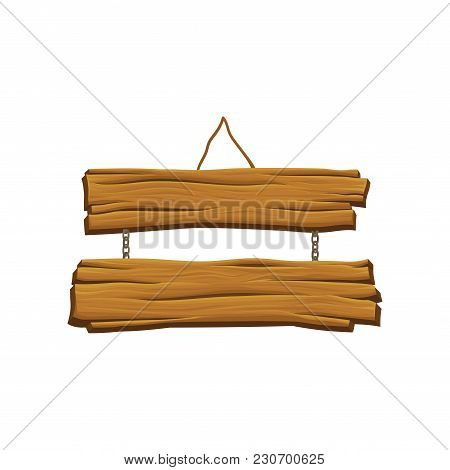 Old Hanging Wooden Signboard. Brown Textured Boards. Two Planks Connected By Chains. Sign With Place