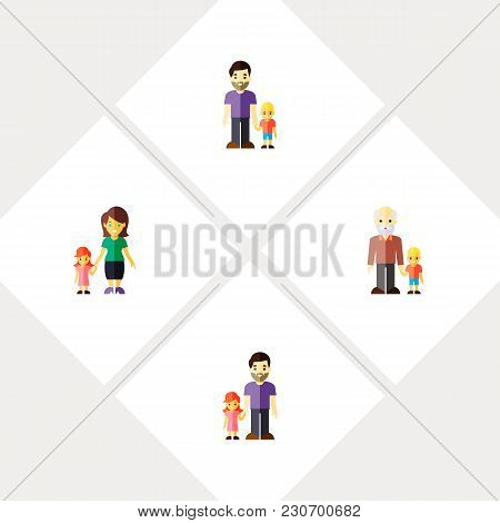 Icon Flat Family Set Of Grandpa, Mother, Daugther Vector Objects. Also Includes Family, Daugther, Fa