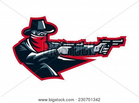 Logo Cowboy Shooting From A Revolver. Wild West, Bandits, Sheriff, Crime. Mascot, Sticker, Emblem. S