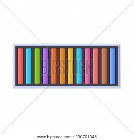 Set Of Colorful Chalks In Package, For Drawing Paintings And Images. Modern Tools, Accessories For P