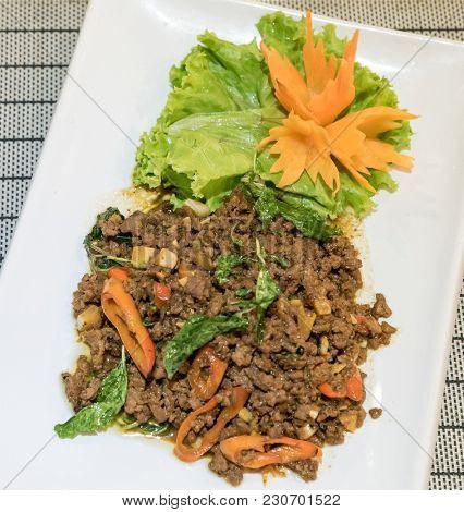 Pork Basil, Thai spicy food