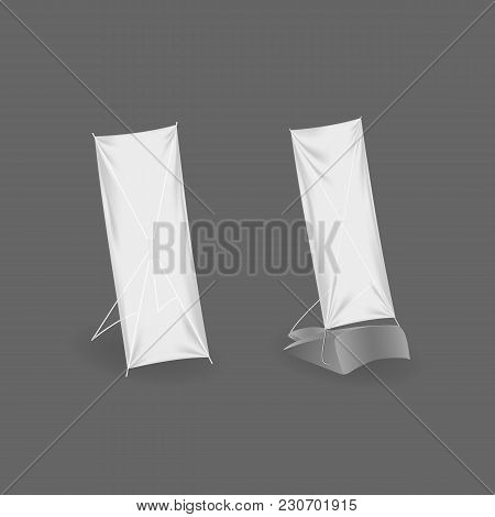 Outdoor Advertising Stand Banner. Realistic Billboards, Flag. Designs Fashionable Outdoor Billboards