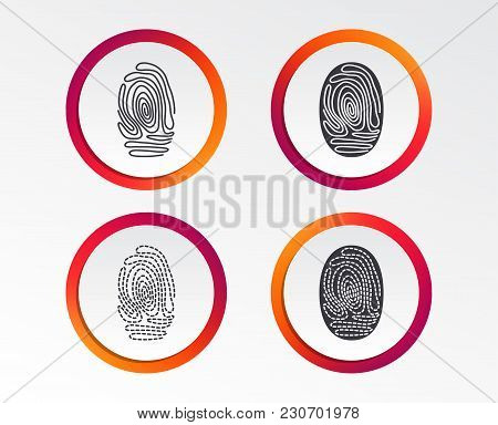 Fingerprint Icons. Identification Or Authentication Symbols. Biometric Human Dabs Signs. Infographic