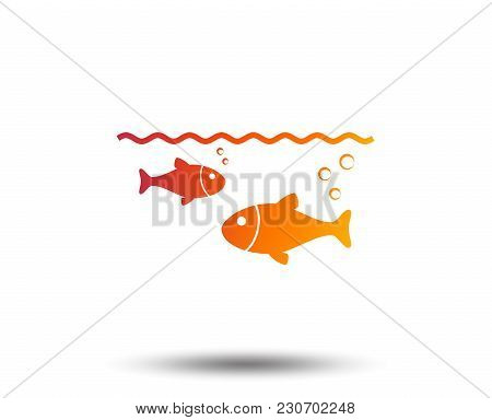 Fish In Water Sign Icon. Fishing Symbol. Blurred Gradient Design Element. Vivid Graphic Flat Icon. V