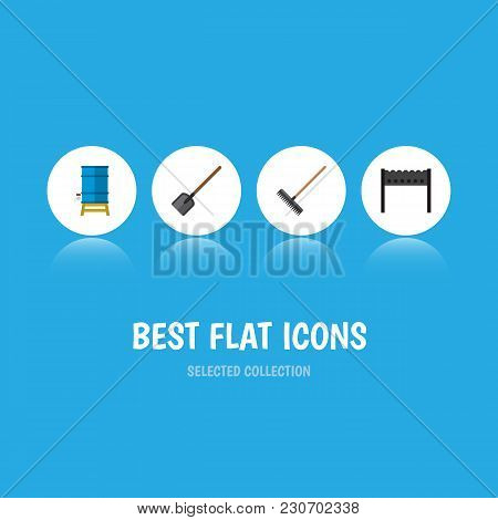 Icon Flat Farm Set Of Brazier, Water Tank, Spade And Other Vector Objects. Also Includes Tool, Brazi