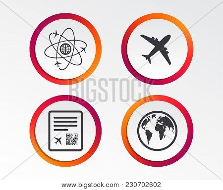 Airplane Icons. World Globe Symbol. Boarding Pass Flight Sign. Airport Ticket With Qr Code. Infograp