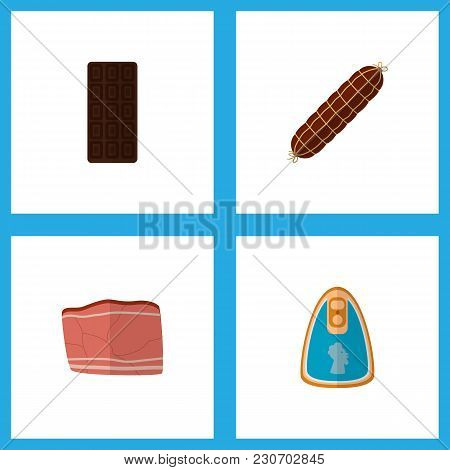 Icon Flat Food Set Of Meat, Fillet, Chocolate Bar And Other Vector Objects. Also Includes Bar, Fille