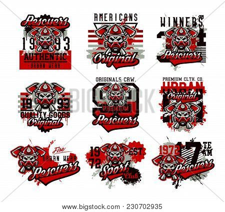 A Set Of Vector Illustrations On The Theme Of Rescuers, Fire Department, A Skull In A Fireman's Helm