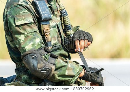 Soldier preparation ready for war and combat and eaiting command.