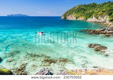 Aerial View point of Tropical white sand beach and snorkel point at cockburn island andaman sea indian ocean Myanmar and Thailand.