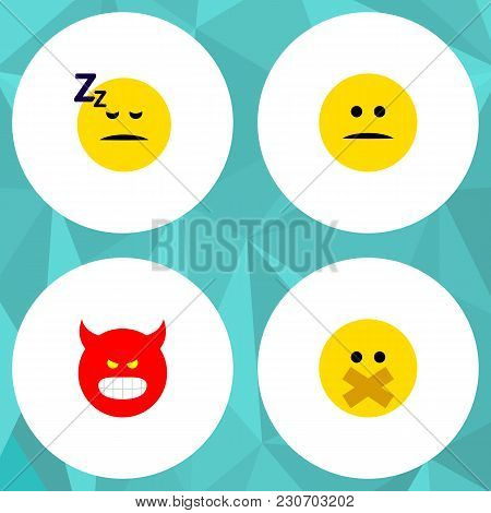 Icon Flat Expression Set Of Silent, Sleeping, Angry And Other Vector Objects. Also Includes Face, Sm