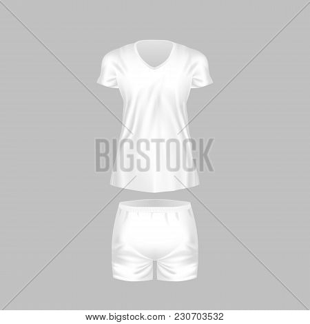 Realistic Mockup Of Women T-shirt - Tunic, Fashion Shorts. Women Sports Short Sleeve T-shirt, Tunic,