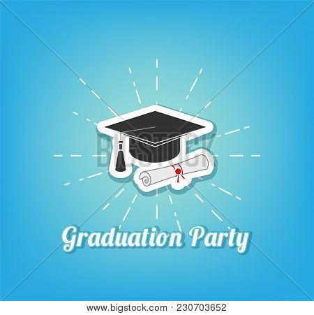 Graduation Hat Icon. Graduation Cap, Hat. Graduation Party Lettering. Vector Illustration Isolated O