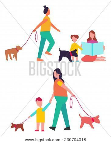 People Walking Their Dogs On Leashes And Having Fun Together, Picture Represented On Vector Illustra