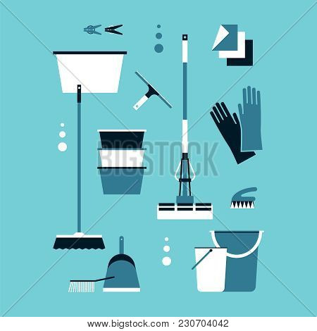 A Set Of Accessories For Cleaning. Brushes, A Mop, Latex Gloves, Buckets, A Scoop, A Basin, Clothesp