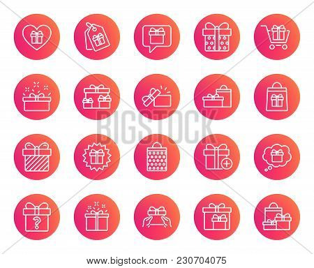 Gifts Line Icons. Set Of Present Box, Offer And Sale Signs. Shopping Cart, Tags And Chat Symbols. Sp