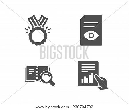 Set Of Honor, Search Book And View Document Icons. Document Sign. Medal, Online Education, Open File
