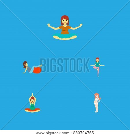 Icon Flat Pregnancy Set Of Sport, Meditation, Pregnant Woman And Other  Objects. Also Includes Pregn