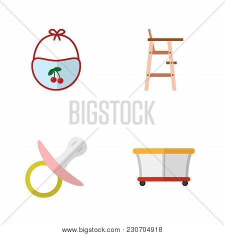 Icon Flat Child Set Of Bib, Pacifier, Playpen And Other  Objects. Also Includes Playground, Baby, Ch