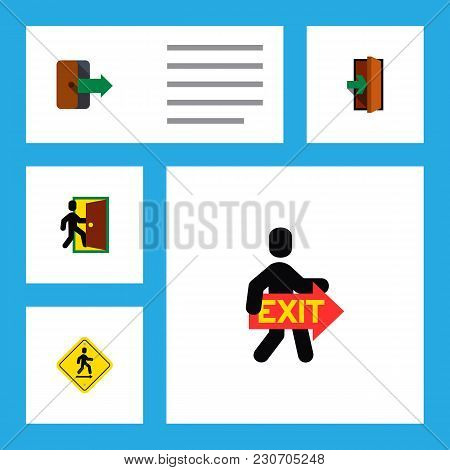 Icon Flat Emergency Set Of Exit, Directional, Entry And Other  Objects. Also Includes Exit, Door, Di