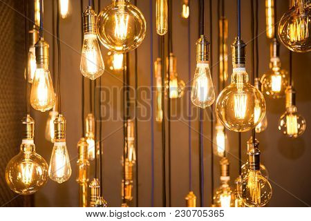 Lighting Decor. Old Vintage Fashion Light Bulbs. Bottom View