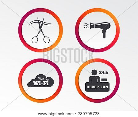 Hotel Services Icons. Wi-fi, Hairdryer In Room Signs. Wireless Network. Hairdresser Or Barbershop Sy