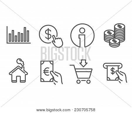 Set Of Online Market, Finance And Coins Icons. Bar Diagram, Buy Currency And Atm Service Signs. Shop