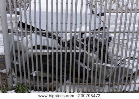 Car Crashed Into The Fence Deformation Dent,