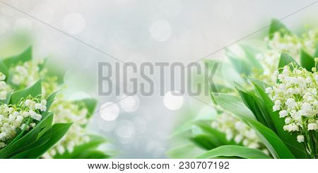 Bunch Of Lilly Of Valley Flowers Over Gray Bokeh Background Banner