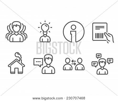 Set Of Group, Parcel Invoice And Communication Icons. Person Talk, Education And Conversation Messag