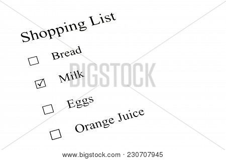 A Shopping Check List On White Paper