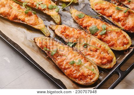 Baked Stuffed Zucchini With Meat In A Pan