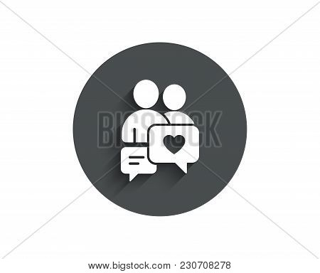 Couple Communication Simple Icon. Love Chat Symbol. Valentines Day Sign. Circle Flat Button With Sha